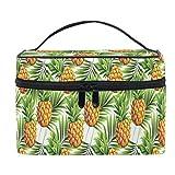 Bolsa de maquillaje con diseño tropical de piña para cosméticos, bolsa de maquillaje, bolsa de tren, bolsa de viaje portátil con cremallera, organizador grande para mujeres