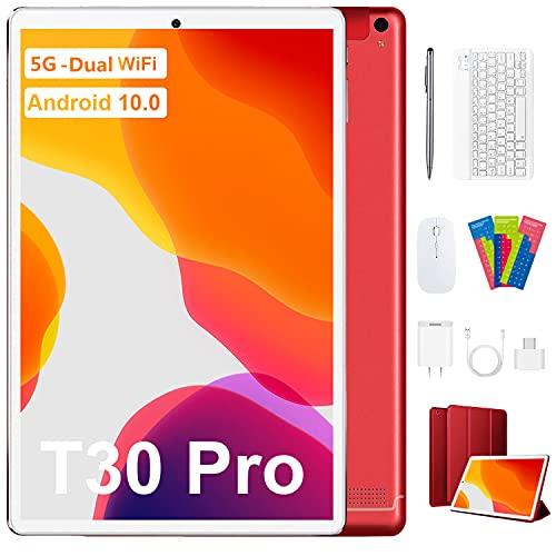 Tablet 10 Pulgadas Android 10 5G Dual WiFi, 4GB RAM+64GB ROM (TF 128GB), Octa-Core 1.6 GHz Tableta con Pantalla HD IPS, Teclado Bluetooth, Mouse, Estuche para Tableta y Más Incluidos