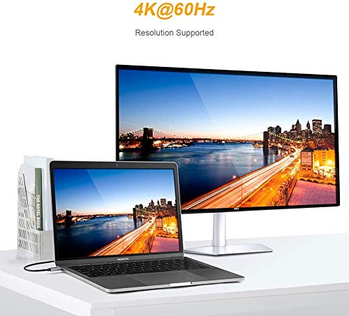 CableCreation USB C zu HDMI 4K @ 60Hz, Typ C zu HDMI 6 FT Kabel, Thunderbolt 3 kompatibel, Stecker zu Stecker,MacBook Pro/iMac 2017 / Chromebook Pixel/Yoga 920 / Samsung S9 / S8, Schwarz / 1.8M