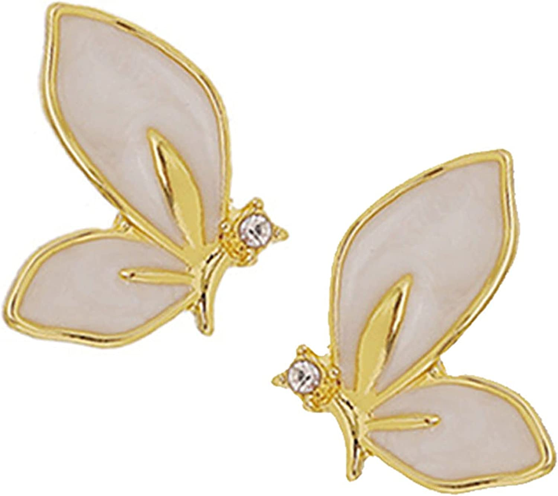 ONLYJUMP S925 Butterfly Stud Earrings for Women Girls Fashion Enamel White Gold Plated Crystal Butterfly Hypoallergenic Earrings Jewelry