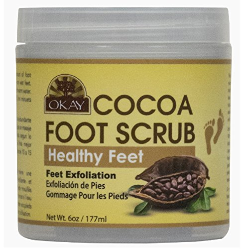 OKAY All Natural Cocoa Butter Foot Scrub, 6 Ounce