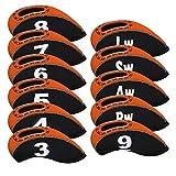 Big Teeth Golfschlägerhauben aus Neopren mit Nummernschild, mehrfarbig, transparent, flexible Passform für Titleist, Callaway, Ping, Taylormade, Cobra (Orange), 11 Stück