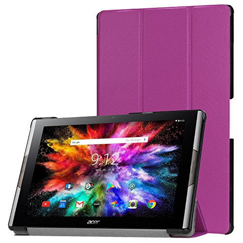 Lobwerk Tablet Hülle für Acer Iconia Tab 10 A3-A50 10.1 Zoll Schutzhülle Smart Cover mit Auto Sleep/Wake, Standfunktion & Touch Pen Lila