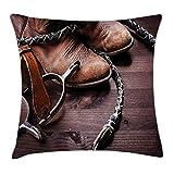 Western Throw Pillow Cojín, Botas de Cuero Viejas y espuelas Equipo de Rodeo rústico Impresión de Imagen artística de Estilo Estadounidense, 45 x 45 cm, marrón