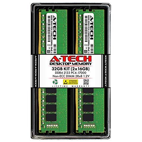 A-Tech 32GB (2x16GB) DDR4 2133MHz DIMM PC4-17000 2Rx8 Dual Rank 1.2V CL15 288-Pin Non-ECC UDIMM Desktop RAM Memory Upgrade Kit