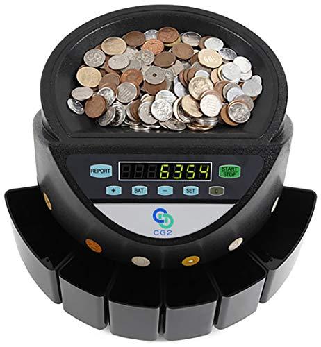 MIRACLE 大蔵省 超高速 電動コインカウンター コインソーター 自動硬貨計算機 貯金箱 小銭 経理 (ブラック) MC-KWS-550-BK