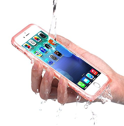 PISSION Waterproof Cases Ultra Slim Full Body Protective Cover Compatible with iPhone 6/6S (Rose Gold)