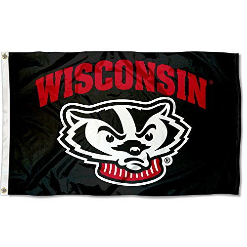 College Flags and Banners Co. Wisconsin Badgers Black Flag