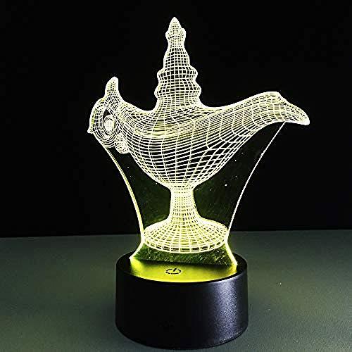 ilusión 3D Lámpara De Ilusión Aladino decoración del hogar y para codormir Con interfaz USB, cambio de color colorido