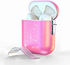 Airpods Case,AOJI Airpod Case Cover, Stylish Sparkling Changing Hue with Patented-Design Clip, Hard Shell, Compatible with Apple Airpods 1 & 2, Pink