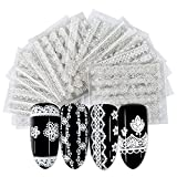 30 Sheets Lace Nail Art Stickers Decal Nail Art Supplies White 3D Lace Flower Lines Nail Decals for Nail Art Decoration Self Adhesive Lace Foils Nail Stickers for Women Girls Manicure Tips Charms