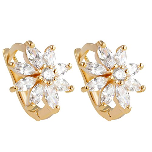 AIUIN gouden bloem diamanten oorbellen voor vrouwen, met een sieradenzakje