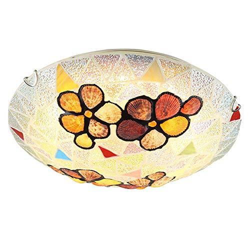 Jay Tiffany Moderno Europeo Accesorios de Luces de Techo Lámpara de Techo de Estilo Simple Blanco Montaje Empotrado Pantalla Redonda Sala de Estar Dormitorio Hotel Decoración Iluminación,40cm
