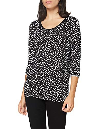 GINA LAURA Damen Shirt,Punktedruck Bluse, Schwarz, L