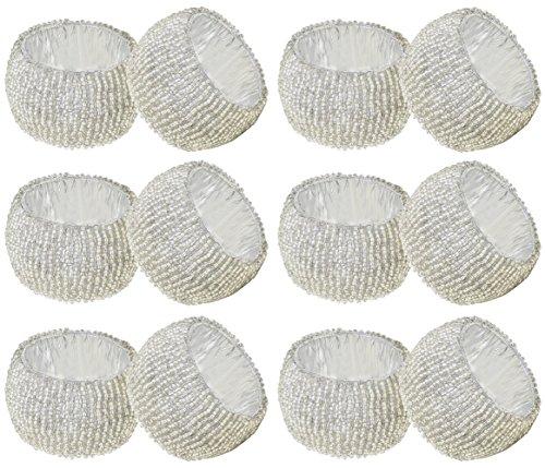 SKAVIJ Silber Glas Perlen Serviettenring-Set für Esstischdekoration Handgemacht (12 stück)