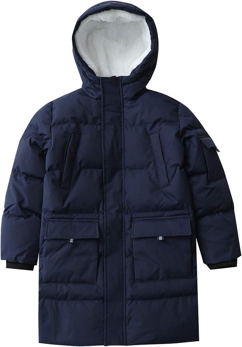 Hiheart Boys Girls Thick Padded Warm Coat Mid-Long Winter Parka