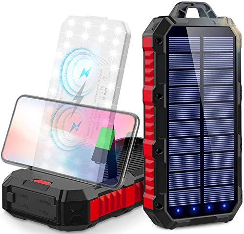 power bank solare 30000 mah Caricabatterie Portatile Wireless Qi Batteria Esterna Solare con 3 Porte di Uscita(3USB+Qi) e Torcia a 34 LED,2 Modalità di Ricarica(Solare+USB) per Campeggio Android iOS