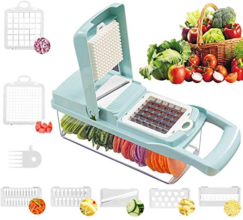 Vegetable Chopper, Onion Chopper Vegetable Slicer with Stainless Steel Blade Include Clean Brush and Hand Guard Made in USA (Grenn)