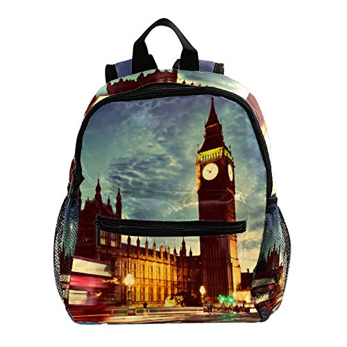Mochilas Infantiles Reloj Big Ben de Londres Ligera Mochila Infantil Escolar Ergonómico Animal para Niños 25.4x10x30cm