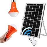 Roopure Solar Lights Outdoor Hanging Waterproof Solar Pendant Light, Off-Grid Solar Shed Light 12W Solar Panel & 2 LED Bulbs Bright for Yard Patio Gazebo Barn Hiking Camping, 5 Modes, Remote Control