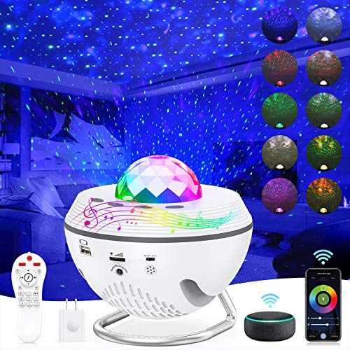 Star Projector 8 in 1 Night Light 2021 Smart WiFi Galaxy Projector Work with Alexa & Google Assistant, Ocean Star Light Projector with Bluetooth Music Remote Control & Timer for Kids Bedroom Game