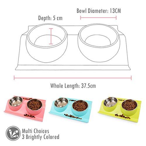 UBEST Hundenapf Anti-Schmutz Design Fressnapf abwaschbar Edelstahlnäpfen für Hunde und Katzen, Rosa - 2