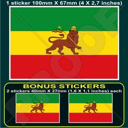Äthiopien ehemaligen Äthiopische Löwe von Juda Flagge Afrika 10,2cm (100mm) Vinyl Bumper Aufkleber, Aufkleber X1+ 2Bonus