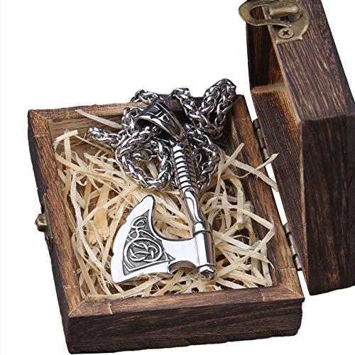 AQzxdc Viking Odins Axt Mjolnir Anhänger Halskette, Herren Edelstahl Handgefertigte Nordische Mythos Celtic Knot Triquetra Mit 60 cm Kette Amulett Schmuck