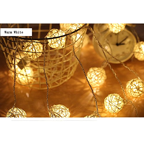2 Pack 20 LED Rattan Wicker Ball Fairy String Lights Outdoor Battery Powered Patio Lighting Night Lights for Gardens Homes Wedding Christmas Party