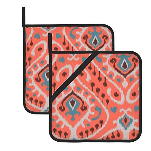 wellay Juego de 2 agarraderas, moderno verde azulado naranja Ikat patrón tribal Kicthen almohadillas calientes lavables resistentes al calor para parrilla, hornear, cocinar