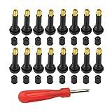 Sweieoni Vástago de Válvula de Neumático 16 Piezas TR413 Vástago de válvula de Goma a Presión Vástago de Válvula de Neumático Sin Cámara con Tapas y Llave Inglesa para Neumáticos