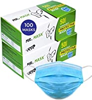 Roseate Mr Mask Disposable (Pack of 100) with Nose Pin Non-Woven Anti Pollution Surgical 3 Ply Face Mask with Triple...