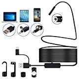 DDENDOCAM USB Endoscope Inspection Camera 3 in 1 USB/Micro USB/Type-C Endoscope Camera Borescope with 8 LED for Samsung Huawei Xiaomi Android Phone Tablet PC MAC (5M)