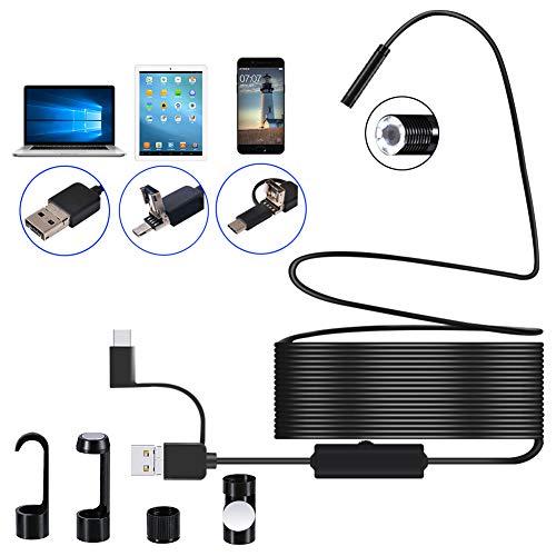DDENDOCAM USB endoscopio boroscopio cámara de inspección 3 en 1 USB/Micro USB/Tipo-C cámara endoscopio OTG teléfono boroscopio con 8 LED para Samsung Huawei Xiaomi Android Phone PC (10M)