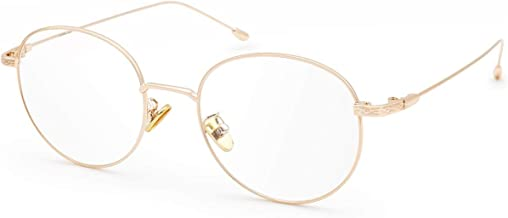 Livho Blue Light Blocking Glasses, Lightweight Retro Round Frame Anti UV Computer Gaming Glasses for Women Men - LI1632