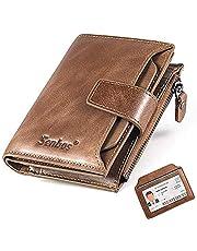 Senbos Carteras para Hombre, Piel Monedero con RFID Bloqueo, 18 Ranuras para Tarjetas de Crédito, 1 Bolsillo con Cremallera e Soporte Extraíble para Tarjetas de Identificación con Caja de Regalo