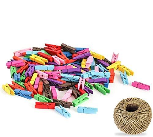 100 Pcs Colores pinzas de madera para colgar fotos, Attiant 100m Hilo Natural Yute Cordel de Cáñamo Cuerda de Bricolaje con 100pcs Mini Pinzas Absofine para floristería, Para Fujifilm Instax Mini