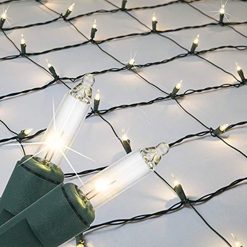 Kringle Traditions Clear Twinkle Net Lights Christmas Clear Net Christmas Lights Outdoor Net/Outdoor Decorative Lights Christmas Net Lights on Green Wire (4'x 6' net, 150 Lights, Clear Twinkle)