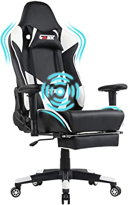 GANK Gaming Chair Racing Chair PU Leather Ergonomic High-Back Adjustable Height Professional E-Sports Chair with Footrest and Lumbar Pillows (White)