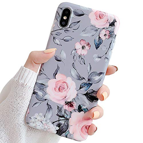YeLoveHaw iPhone Xs Case for Girls, Flexible Soft Slim Fit Full-Around Protective Cute Shell Phone Case Cover with Purple Floral and Gray Leaves Pattern for iPhone X/XS 5.8 Inch (Pink Flowers)