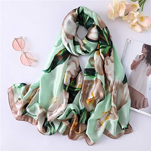 MYTJG dames sjaal van zijde met bedrukking zacht sjaal voor dames comfortabel mode warm