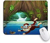 """ゲーミングマウスパッド、魚を捕まえるために水に飛び込む漫画の猿ゲインツリールート洞窟自然シーン、9.5"""" x7.9""""ノートブック用滑り止めラバーバッキングマウスパッドコンピューターマウスマット"""