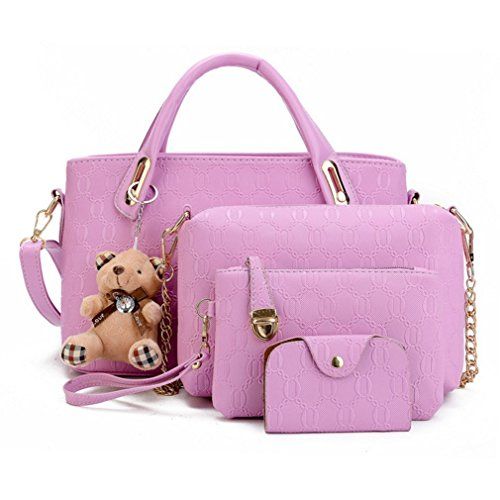 BlackEdragon 4pcs/Set Composite Bag PU Leather Handbag Messenger Wallet Bag with Bear Doll