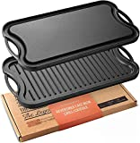"Legend Cast Iron Griddle for Gas Stovetop | 2-in-1 Reversible 20"" Cast Iron Grill Pan For Stovetop with Easy Grip Handles 