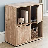 Bakaji - Mueble librería de diseño Moderno de Cubo con 4 estantes y 2 Puertas de 60 x 29 cm para Decorar la casa o el salón