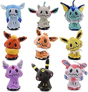 WYMDDYM Pocket Monsters Mimikyu Cosplay Eevee Family Plush Dolls Animal Stuffed Plush Toys (Set of 9pcs)