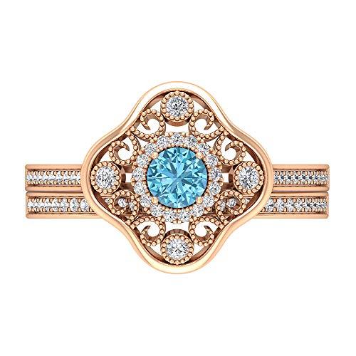 Rosec Jewels 14 quilates oro rosa redonda round-brilliant-shape H-I Diamond Aquamarine