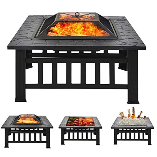 Fire Pit with BBQ Grill Shelf, 3 in 1 Outdoor Metal Brazier Square Table Firepit Garden Patio Heater/BBQ/Ice Pit, Includes Spark Guard, Poker and Protective Cover| UK Warehouse