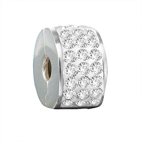 Andante-Stones Perlina distanziatore Bead Clip Stopper in argento massiccio Sterling 925