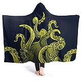 Octopus The Sea Kraken Octopus Pattern Tentacles Flannel Wearable Blanket Robe Wrap Ultra Soft Throw Indoors or Outdoors Hooded Blanket